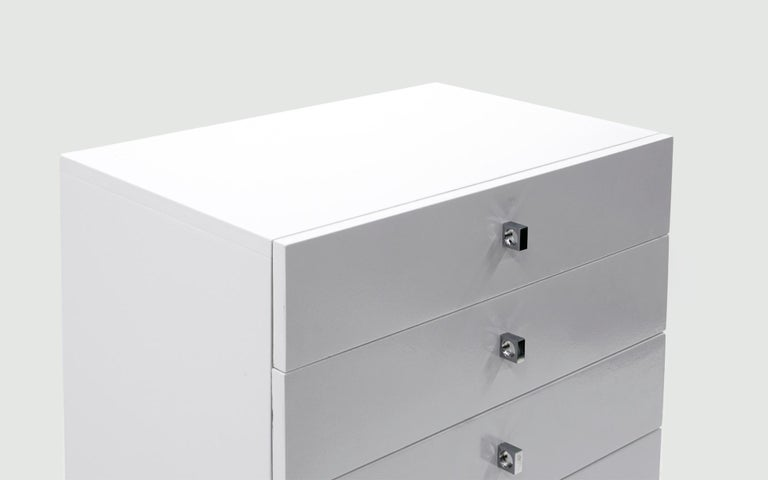 Mid-Century Modern Tall Chest of Drawers, White and Chrome, by Roger Rougier For Sale