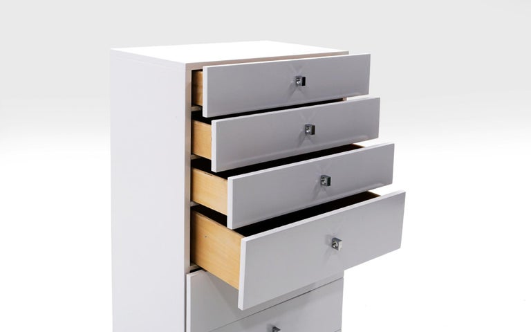 Canadian Tall Chest of Drawers, White and Chrome, by Roger Rougier For Sale