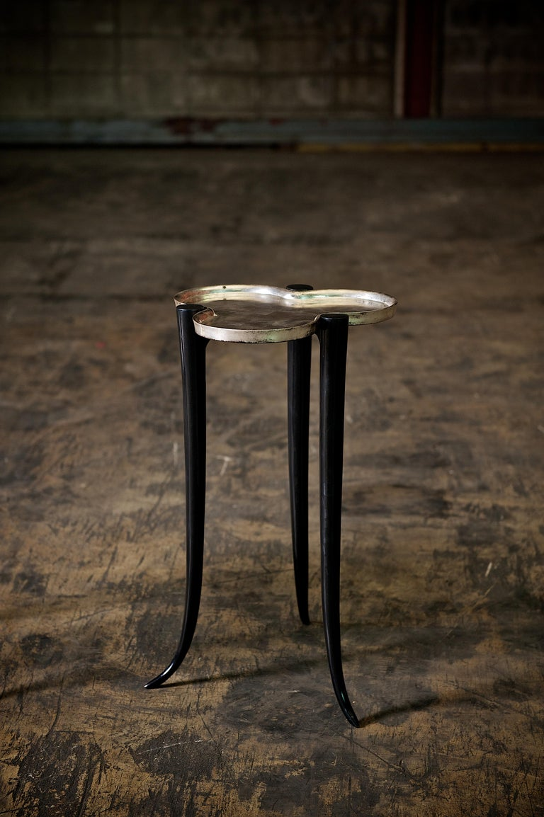 Tall Chime Side Table in Bronze and Silver or Gold Leaf Lacquer by Elan Atelier For Sale 10