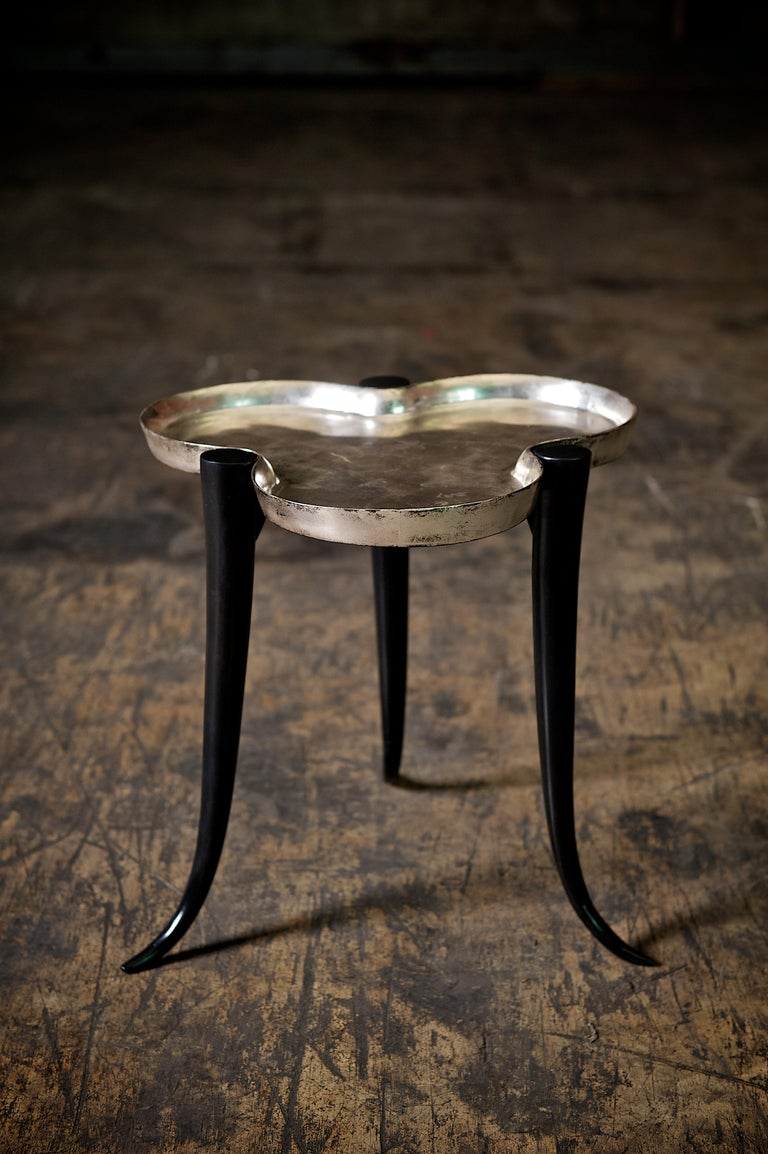 Tall Chime Side Table in Bronze and Silver or Gold Leaf Lacquer by Elan Atelier For Sale 11
