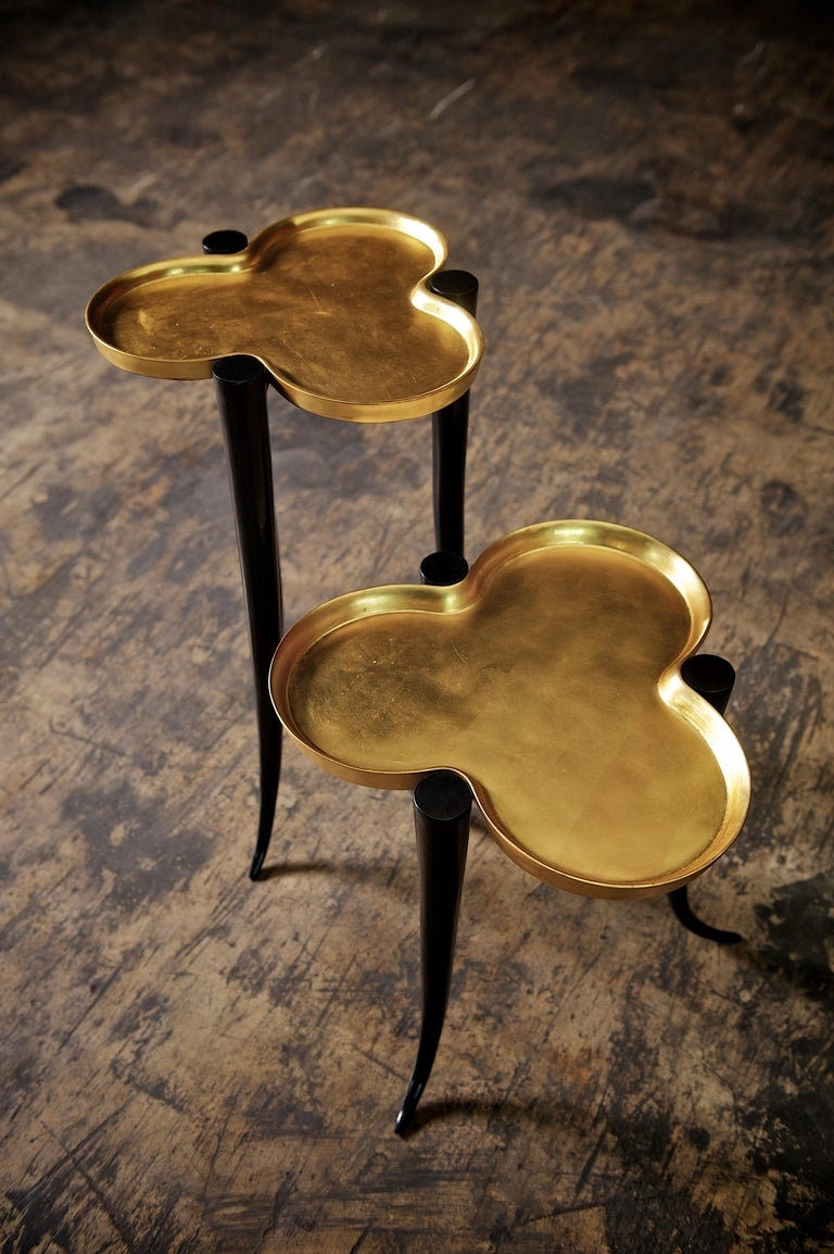 Modern Tall Chime Side Table in Bronze and Silver or Gold Leaf Lacquer by Elan Atelier For Sale