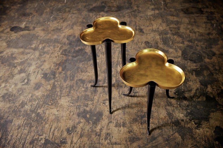 European Tall Chime Side Table in Bronze and Silver or Gold Leaf Lacquer by Elan Atelier For Sale