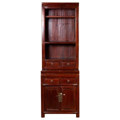 Tall Chinese Antique Two-Part Lacquered Cupboard with Shelves, Doors and Drawers