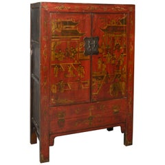 Tall Chinese Export Red Lacquer Cabinet
