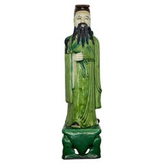 Tall Chinoiserie Ceramic Figurine of a Man in Emerald Green