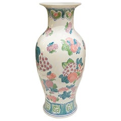 Tall Chinoiserie Famille Rose, Blue Pink and Green Ceramic Vase