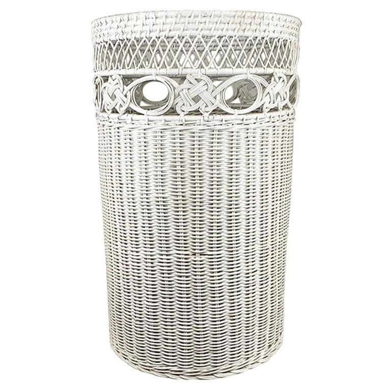 Tall Circular White Wicker Basket with Woven Floral Pattern
