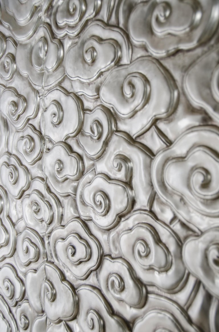 Repoussé Tall Cloud Armoire, White Bronze by Robert Kuo, Hand Repousse, Limited Edition For Sale