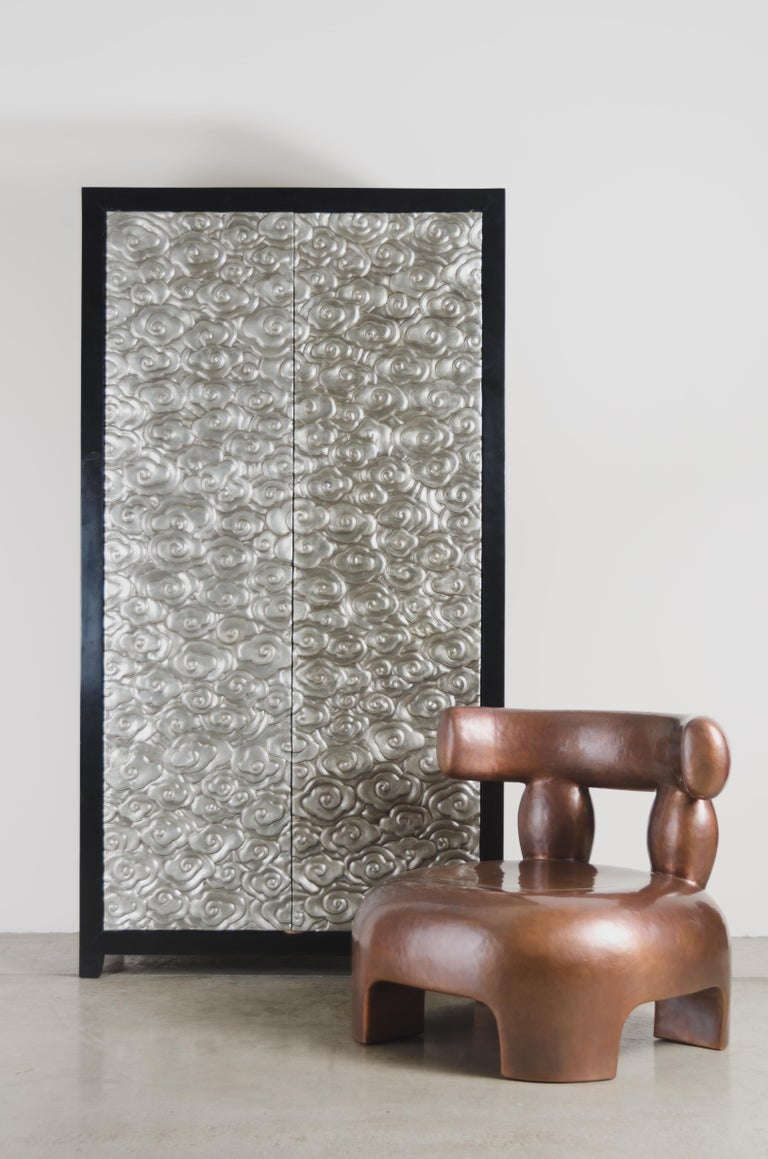 Tall Cloud Armoire, White Bronze by Robert Kuo, Hand Repousse, Limited Edition In New Condition For Sale In West Hollywood, CA