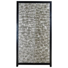 Tall Cloud Armoire, White Bronze by Robert Kuo, Hand Repousse, Limited Edition