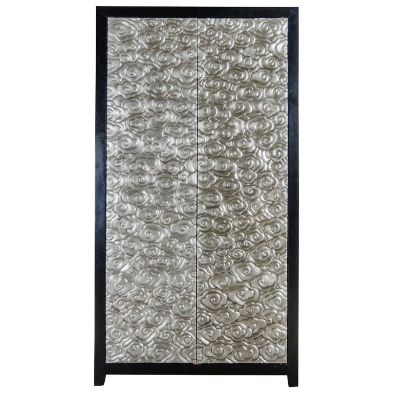 Tall Cloud Armoire, White Bronze by Robert Kuo, Hand Repousse, Limited Edition For Sale