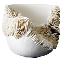 Tall Collapsed Vessel, Is a Unique Porcelain Sculptural Bowl by Olivia Walker