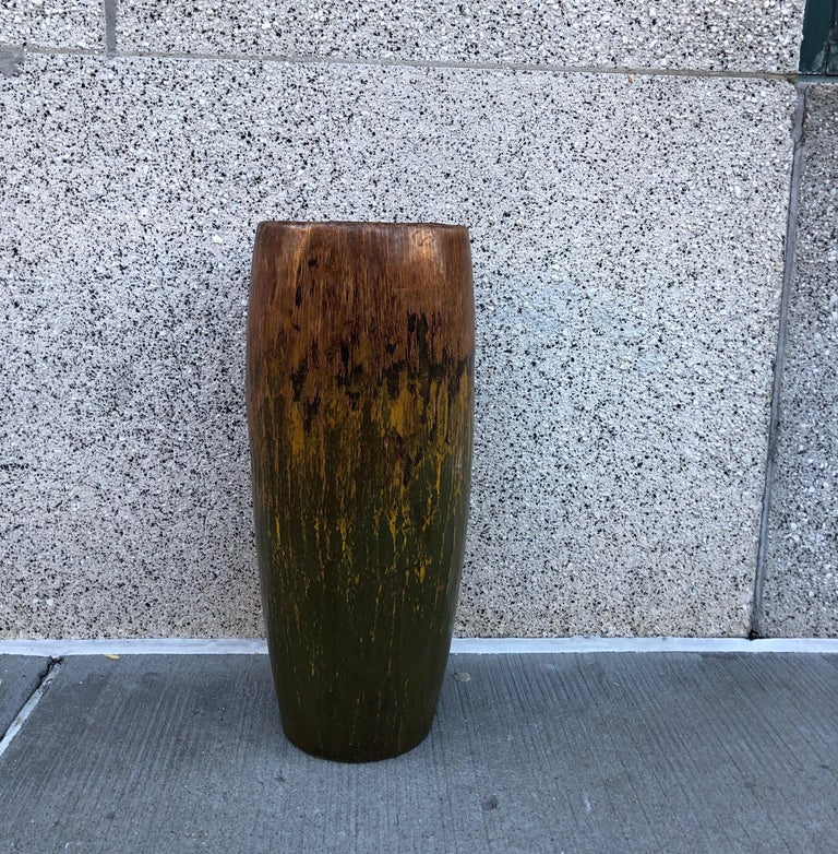 Tall, Colorful Teak Drum Vase from Java For Sale 5