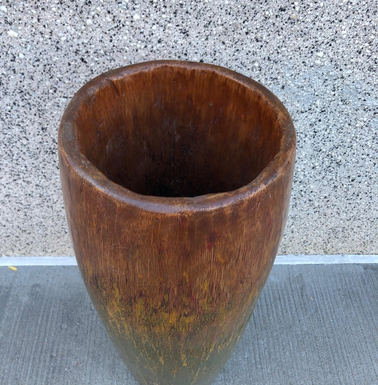Tall, Colorful Teak Drum Vase from Java For Sale 7