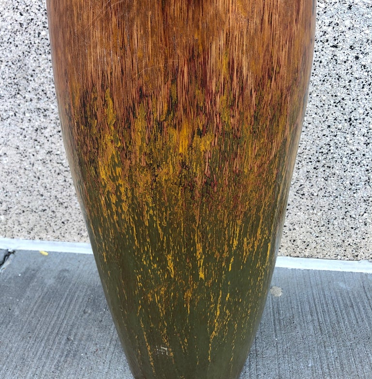 Tall, Colorful Teak Drum Vase from Java For Sale 10
