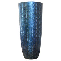 Tall Contemporary Japanese Blue Silver Etched Porcelain Vase by Master Artist