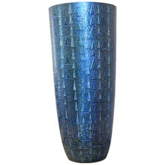 Tall Contemporary Japanese Blue Silver Leaf Ceramic Vase by Master Artist
