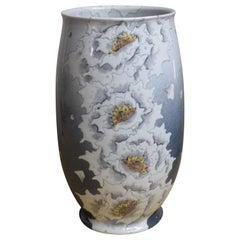 Japanese Blue Gray White Porcelain Vase by Contemporary Master Artist