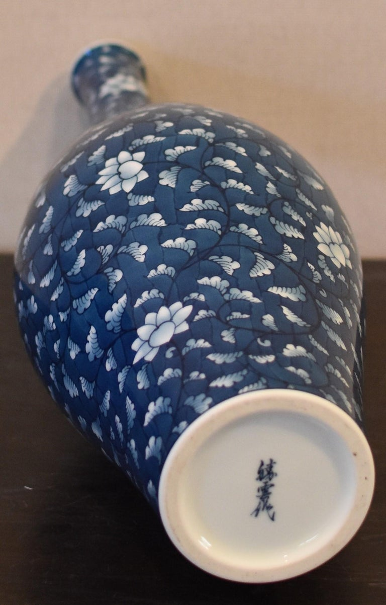 Tall Contemporary Japanese Imari Blue Porcelain Vase by Master Artist In New Condition For Sale In Vancouver, CA