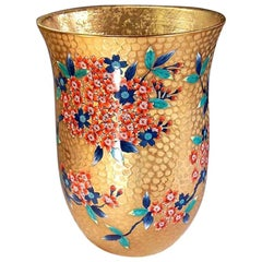 Tall Contemporary Japanese Red Gilded Porcelain Vase by Master Artist