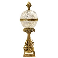 Tall Cut Crystal Ball and Cast Bronze French Table Lamp in Manner of Baccarat