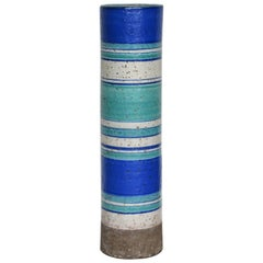 Tall Cylindrical Italian Pottery Vase by Bitossi
