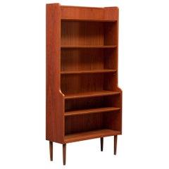 Tall Danish Modern Open Teak Bookcase