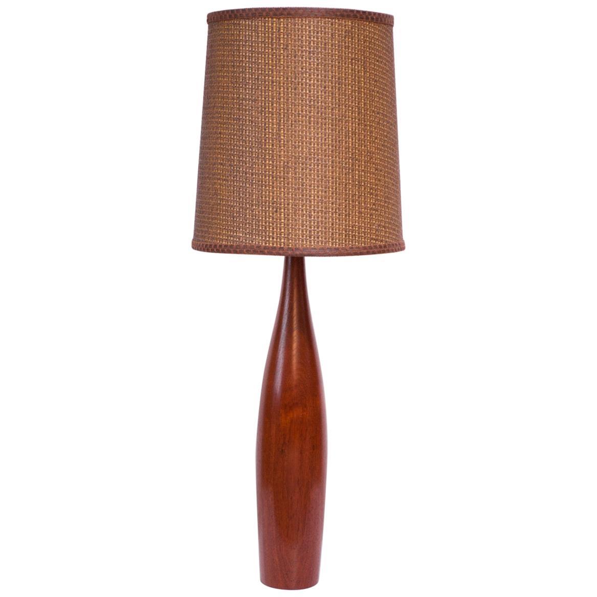 Tall Danish Modern Turned Teak Lamp by ESA