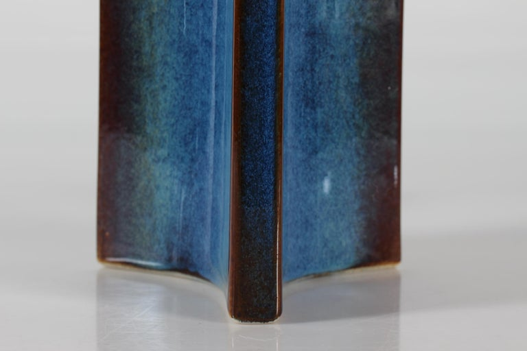 Mid-Century Modern Tall Danish Sculptural Ceramic Table Lamp with Blue Glaze Made by Søholm, 1960s For Sale