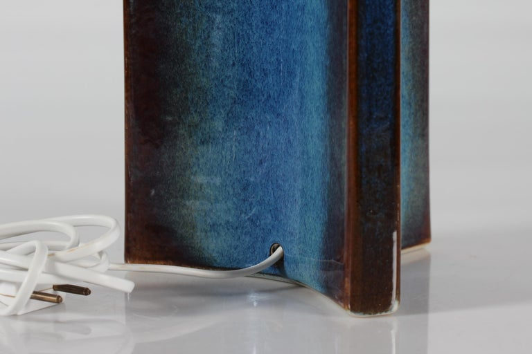 Mid-20th Century Tall Danish Sculptural Ceramic Table Lamp with Blue Glaze Made by Søholm, 1960s For Sale