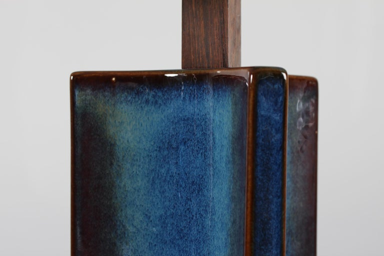 Tall Danish Sculptural Ceramic Table Lamp with Blue Glaze Made by Søholm, 1960s For Sale 1