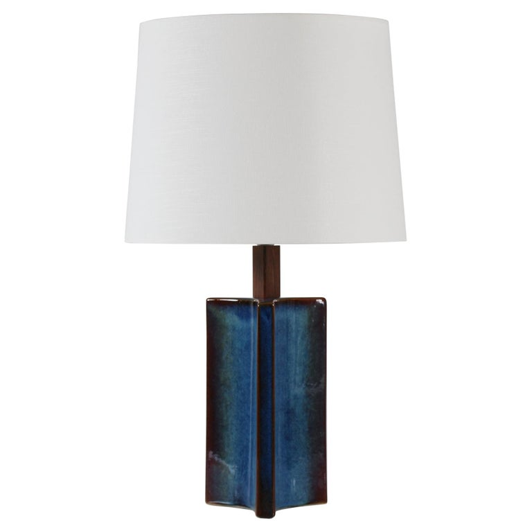 Tall Danish Sculptural Ceramic Table Lamp with Blue Glaze Made by Søholm, 1960s For Sale