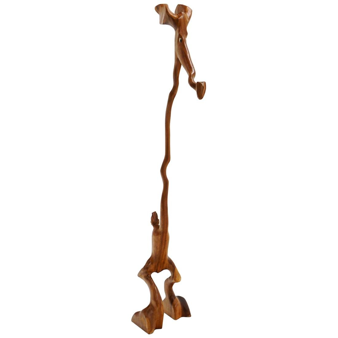 Tall Danish Teak Animal Sculpture by Knud Albert, Denmark, Signed