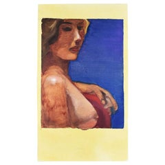 Tall Dark Blue Portrait Painting of a Nude Woman Signed 1993
