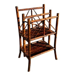 Tall Dark Brown Standing English Bamboo Magazine Rack or Sheet Music Stand
