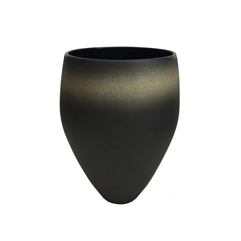 Tall Dark Matte Ombre Glaze Ceramic Vase with Gloss Interior by Sandi Fellman