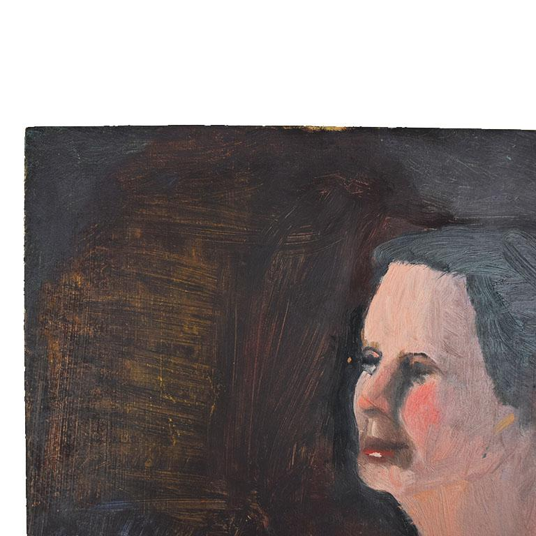 Expressionist Tall Dark Portrait Painting of a Nude Woman by Clair Seglem, 20th Century For Sale
