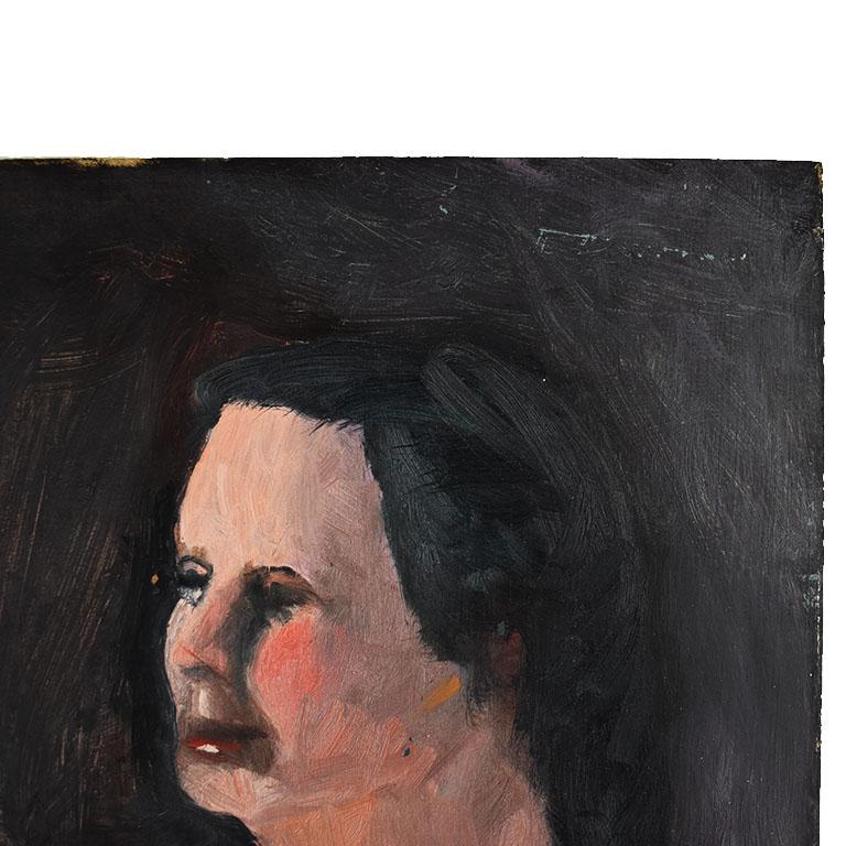 American Tall Dark Portrait Painting of a Nude Woman by Clair Seglem, 20th Century For Sale