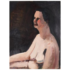 Tall Dark Portrait Painting of a Nude Woman by Clair Seglem, 20th Century