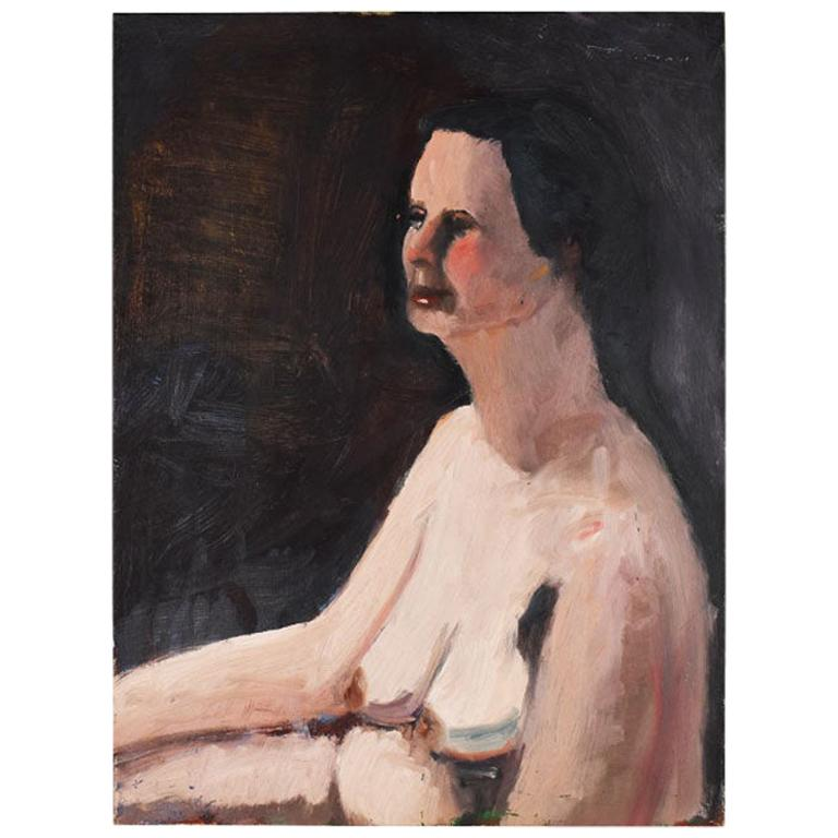 Tall Dark Portrait Painting of a Nude Woman by Clair Seglem, 20th Century For Sale