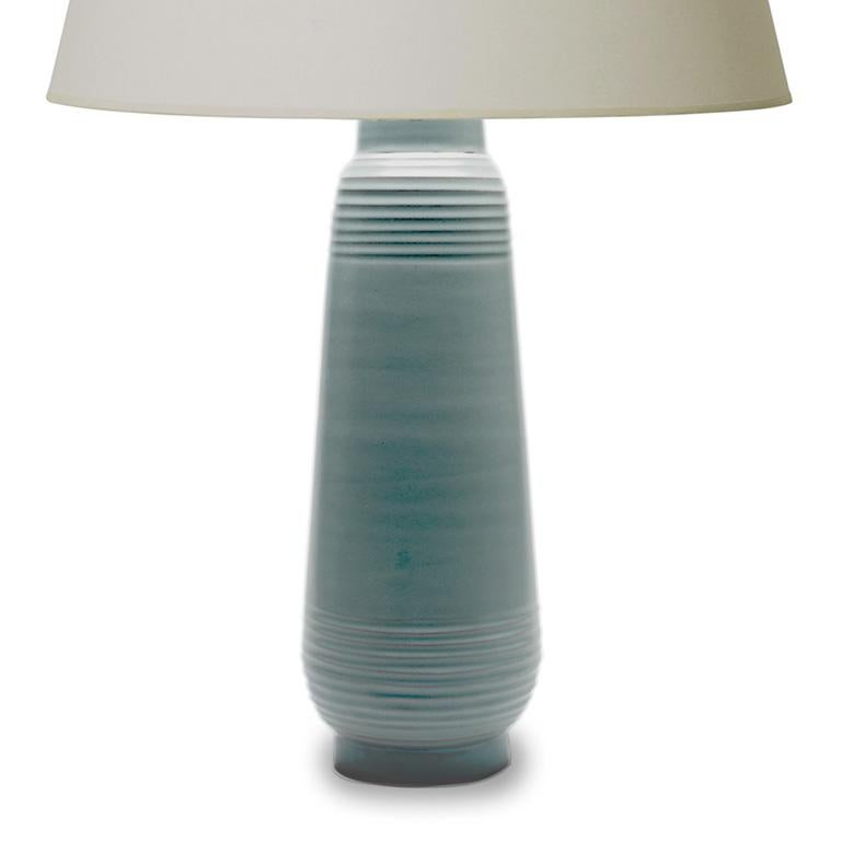 Modern Tall Deco or Funkis Table Lamp in Pale Blue by Ewald Dahlskog For Sale