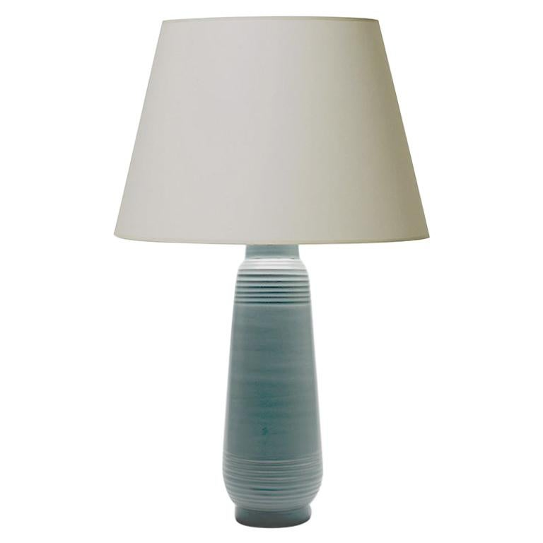Tall Deco or Funkis Table Lamp in Pale Blue by Ewald Dahlskog For Sale