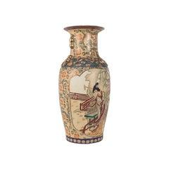 Tall Decorative Vase, Oriental, Ceramic, Urn, Moriage, Art Deco, circa 1940