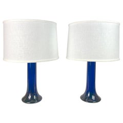 Tall Deep Blue Pair of Glass Lamps by Luxus, Sweden, 1980