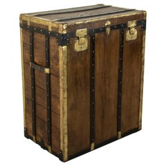 Tall Early 20th Century French Beech Wood Steamer Trunk by Malard, E&M in Paris