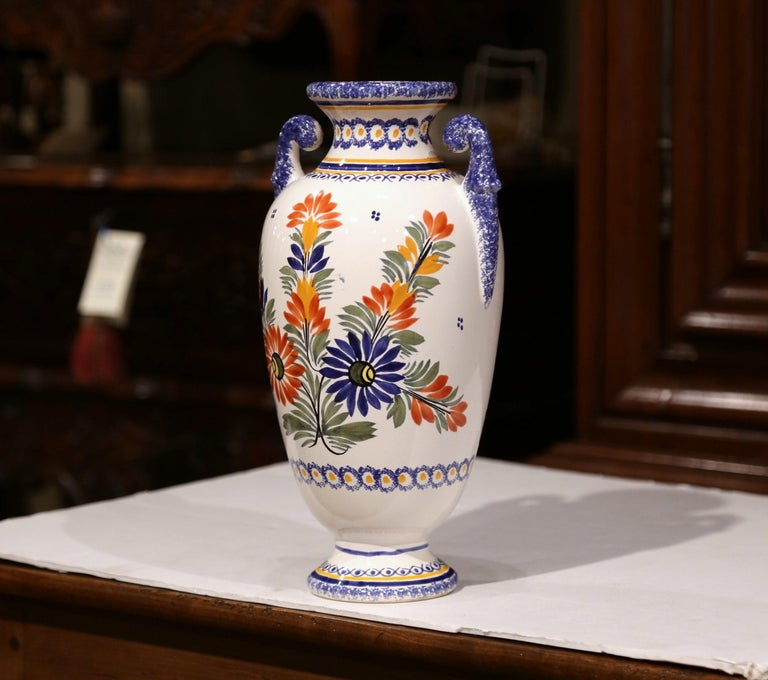 Ceramic  Early 20th Century French Hand-Painted Faience Vase Signed Henriot Quimper For Sale