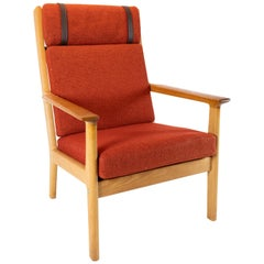 Tall Easy Chair in Oak and Red Wool Fabric by Hans J. Wegner and GETAMA