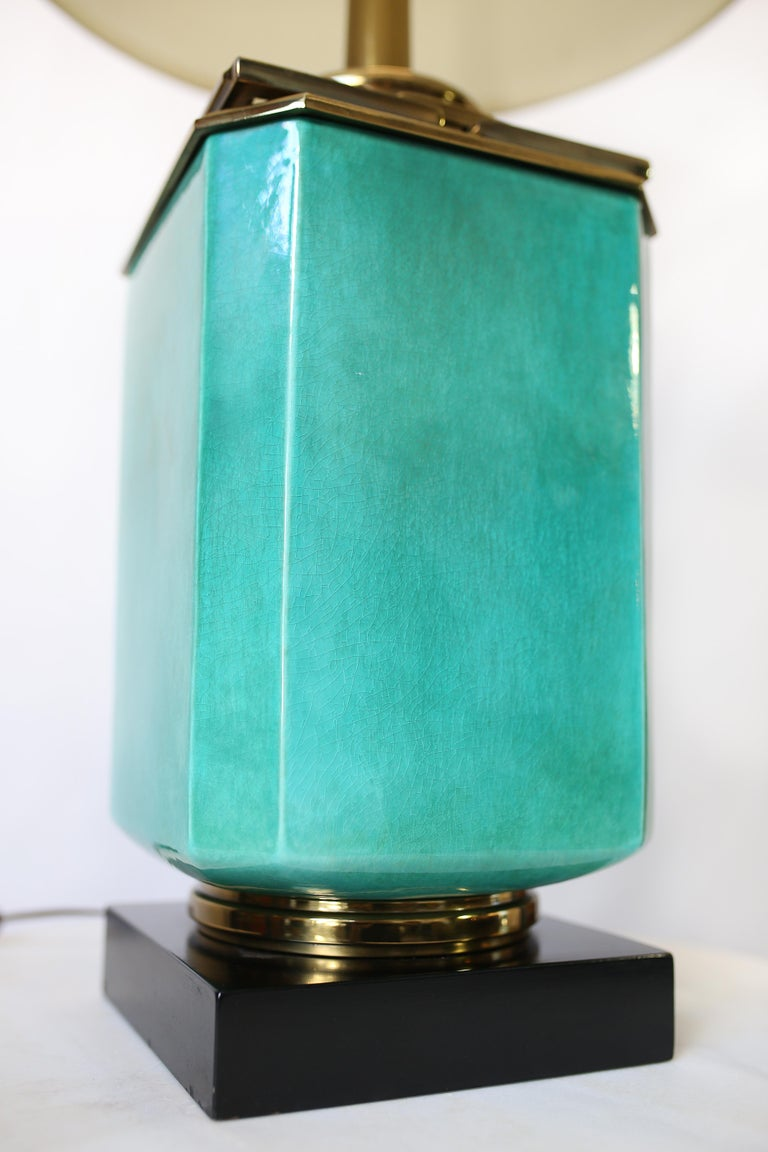 Mid-20th Century Vintage 1950s Large Turquoise and Brass Table Lamp by Edwin Cole for Stiffel For Sale