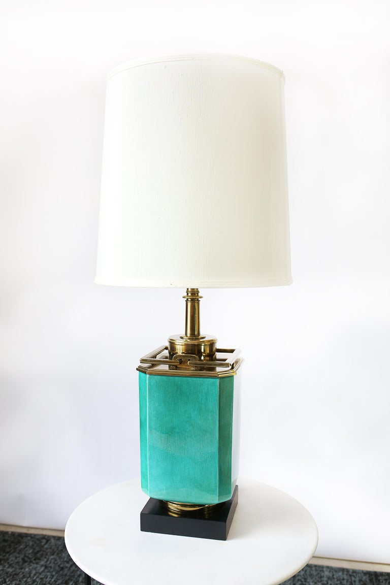 Vintage 1950s Large Turquoise and Brass Table Lamp by Edwin Cole for Stiffel For Sale 2