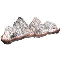 "Tall ""Eight Peaks"" Mountain Scholar Rock, Natural Bonsai Suiseki"